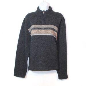 Woolrich gray pullover 1/4 zip fair isle sweater L